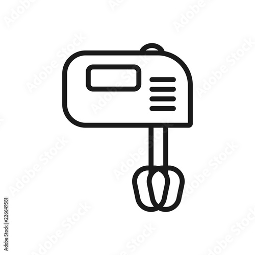 Hand mixer line icon, outline vector sign, linear style pictogram isolated on white Wallpaper Mural