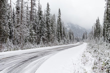 Driving Winding Mountains Roads In Winter
