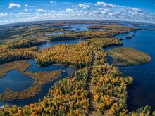 Aerial View Of Fall Colors On Island Lake By Duluth In Northern Minnesota During Early October