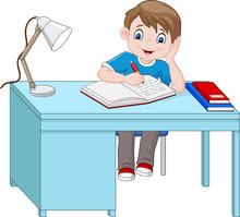 Cartoon Little Boy Studying