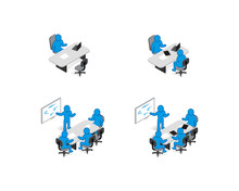 Isometric Blue Stickman Business Situations