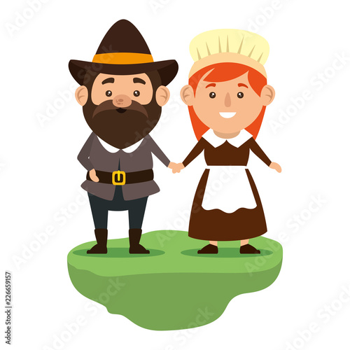 Fotomural  pilgrims couple characters icon