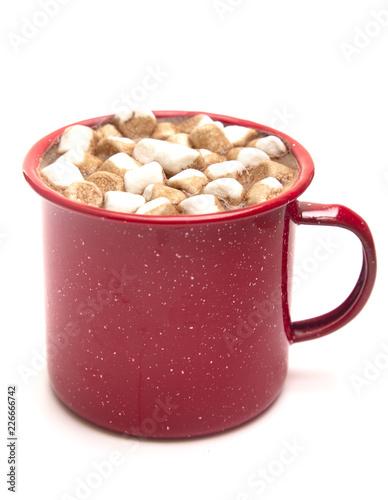 Mug of Hot Chocolate in a Red Metal Mug