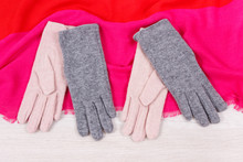 Warm Womanly Gloves And Shawl For Using In Autumn Or Winter