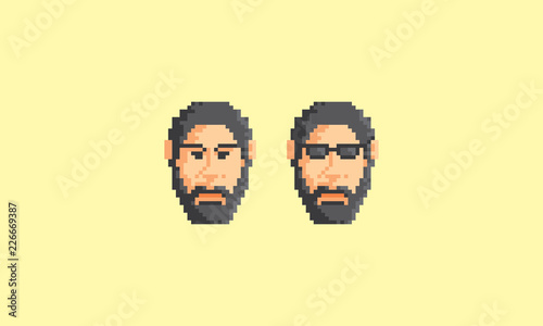 Photo sur Toile Pixel pixel art face man logo icon vector