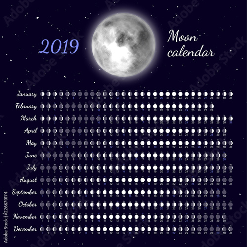 Moon Phases Calendar.Planner Of Lunar Cycles At 2019 Year Daily Lunar Phases Calendar