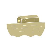 Flat Color Illustration Of A Cartoon Noah's Ark