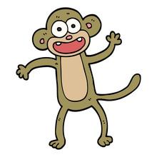 Cartoon Doodle Crazy Monkey