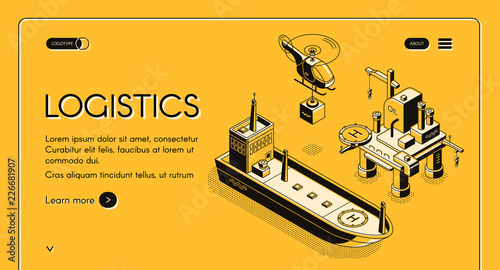 Foto auf AluDibond Gezeichnet Straßenkaffee Global maritime logistics company vector web banner, landing page with helicopter carrying container and cargo ship or oil tanker near oil platform isometric line art illustration on yellow background