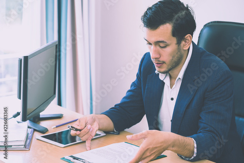 Fototapety, obrazy: Business man is taking note on interview resume report