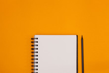 Blank Spiral Notebook And Pencil On Orange Background. Top View With Copy Space For Input The Text.
