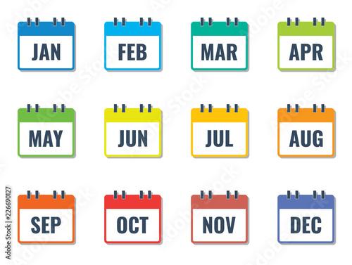 Obraz month name in calendar, colorful flat style vector illustration - fototapety do salonu