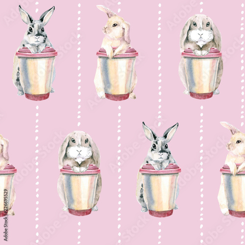 Foto op Canvas Bloemen Cute rabbits on a pink background. Easter bunnies. gentle seamless pattern. hare with a cup of coffee