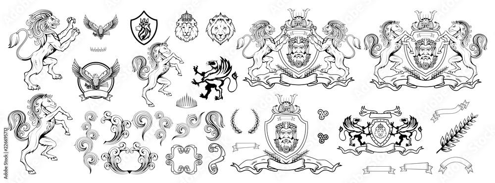 Fototapeta heraldry, heraldic crest or coat of arms, heraldic elements for your design, engraving, vintage retro style, heraldry animals emblem, animals logo, vector graphics to design