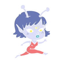 Pretty Flat Color Style Cartoon Alien Girl Running