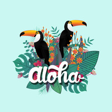 Tropical Banner Design Template. Tropical Leaf And Toucan Birds. Aloha Poster Template. Jungle Exotic Leaf And Flower On Bright Blue Background. Vector Illustration