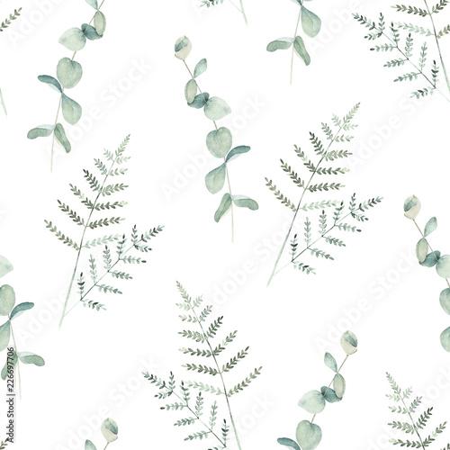 Plissee mit Motiv - Watercolor seamless pattern witn eucalyptus  and fern branch. Hand drawn illustration. Floral background (von natikka)