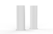 Curved PVC Totem Poster Light Advertising Display Stand, Mock Up Template On Isolated White Background, 3d Illustration