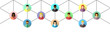 Network concept with diverse people connected by lines. Abstract business and social networking banner on white background.