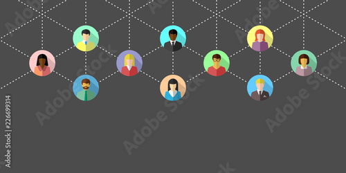 Networking concept with diverse people and dotted lines. Network banner in flat design on dark grey background.
