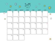July 2019 Wall Calendar. Color...