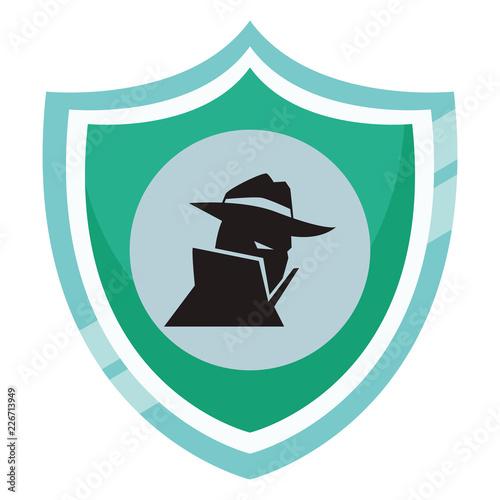 Fotografía  Spyware on shield