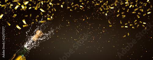 Cuadros en Lienzo champagner goldkonfetti panorama