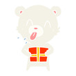 rude flat color style cartoon polar bear sticking out tongue with present