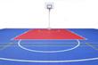 Basketball court on white background.