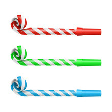 Realistic Detailed 3d Party Blower Whistles Set. Vector