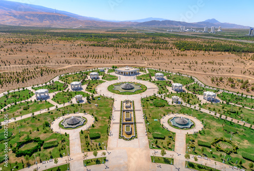 Ashgabat Turkmenistan city scape, skyline of beautiful architecture and parks in Wallpaper Mural