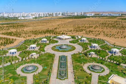 Photo Ashgabat Turkmenistan city scape, skyline of beautiful architecture and parks in