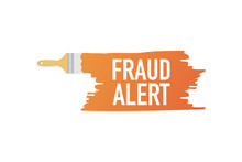Banner With Brushes, Paints - Fraud Alert. Vector Illustration