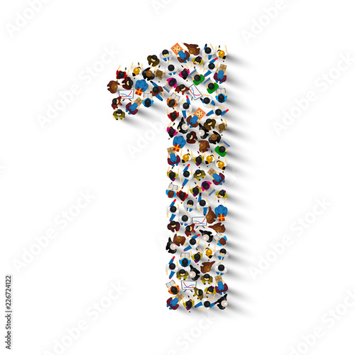 Fototapeta Large group of people in number 1 one form. People font . Vector illustration obraz