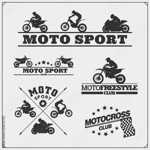 Fotomural  Set of motor sport silhouettes, labels and emblems