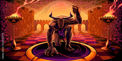 Minotaur in the labyrinth with a filament in his hand