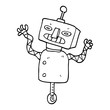 line drawing cartoon robot on wheel