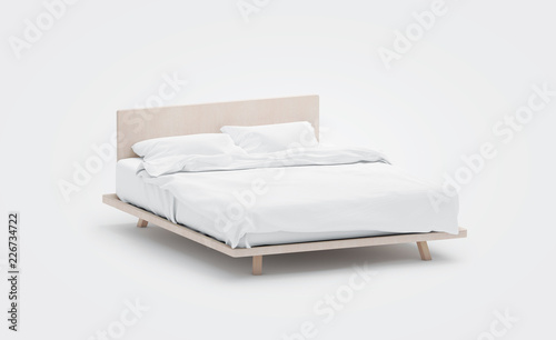 Fényképezés Blank white bed with pillows mockup, side view, isolated, 3d rendering