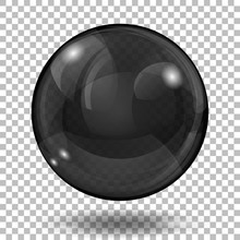 Big Translucent Black Sphere With Glares And Shadow On Transparent Background. Transparency Only In Vector Format