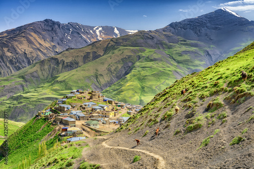 Beautiful mountains and hills in the north of Azerbaijan near Quba in the villag Canvas Print