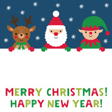 Christmas Poster With Santa Claus, A Reindeer And An Elf