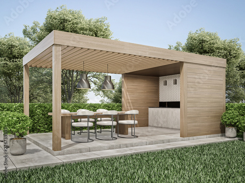 Exterior pergola dinning area in backyard 3D render