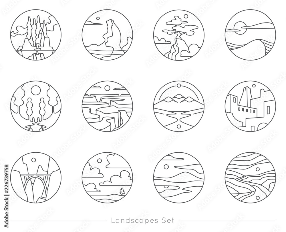 Fotografía Collection of flat outline icons with nature landscapes