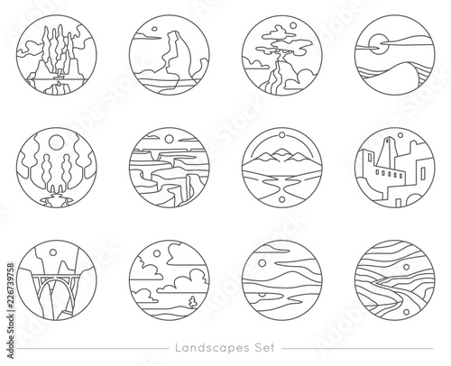 Cuadros en Lienzo Collection of flat outline icons with nature landscapes