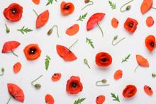 Poppy Flowers Pattern On White...