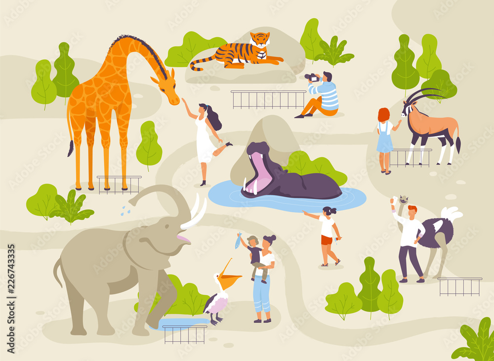 Fototapeta Zoo park with funny animals and people interacting with them vector flat illustrations. Animals in zoo infographic elements with adults and children cartoon characters walking in the park map creating