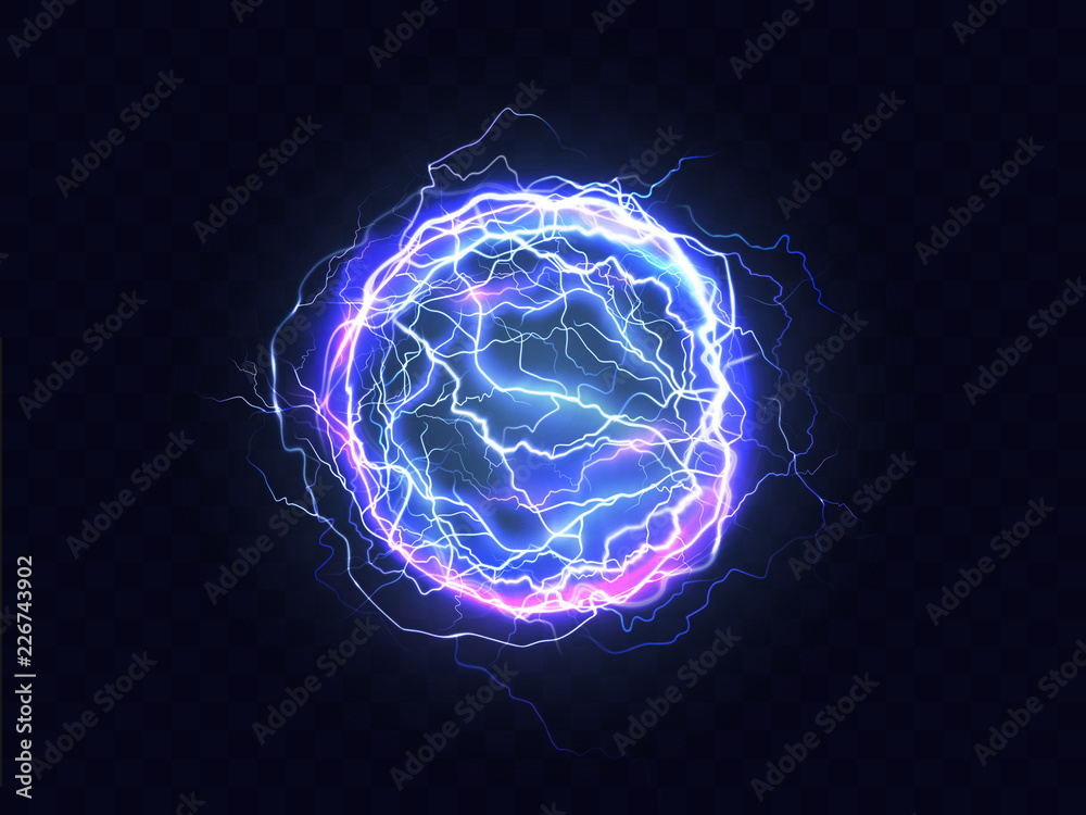 Fototapety, obrazy: Powerful electrical discharge, lightning strike impact place realistic vector on transparent background. Ball lightning, magical effect design element. Electric energy flash sphere, pain nerve impulse