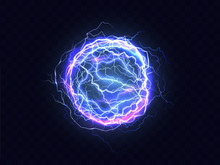 Powerful Electrical Discharge, Lightning Strike Impact Place Realistic Vector On Transparent Background. Ball Lightning, Magical Effect Design Element. Electric Energy Flash Sphere, Pain Nerve Impulse