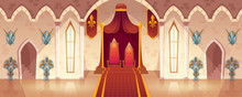 Vector Throne Room In Medieval Palace For Ceremonies And Royal Receptions, Castle Hall, Ballroom For Dancing. Rich Interior With Gobelins And Weapons On Walls, Guards In Armor. Fantasy Game Background