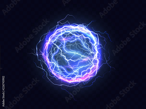 Canvas Print Powerful electrical discharge, lightning strike impact place realistic vector on transparent background
